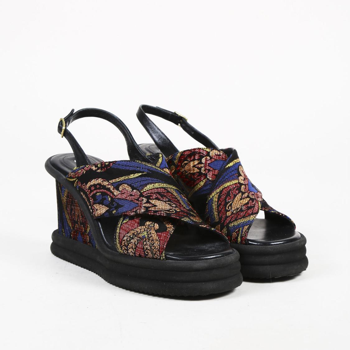 f52ab1d4198 Lyst - Dries Van Noten Jacquard Platform Sandals in Black