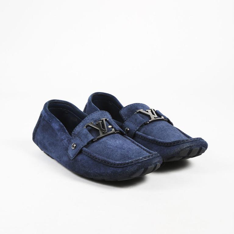 Louis Vuitton Mens Blue Suede Silver