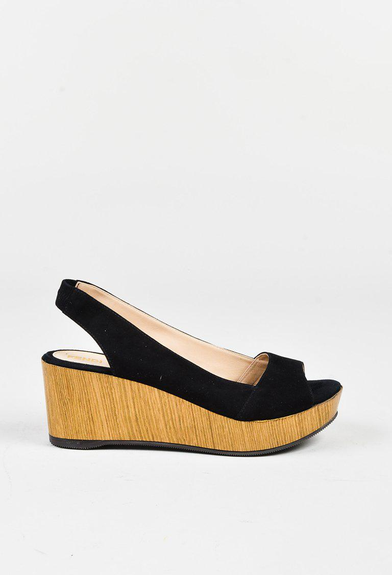 85fde7e1065 Fendi Black Suede Wooden Peep Toe Platform Slingback Sandals