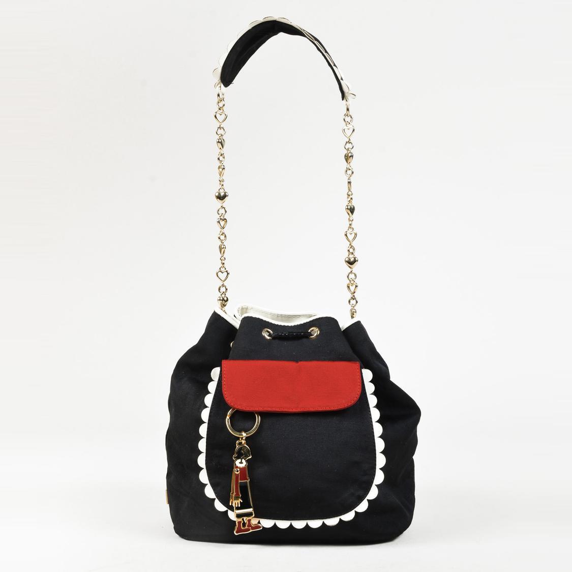 Boutique Moschino Black Grosgrain Olive Oyl Keychain Bucket Bag in ... 40873aa65f