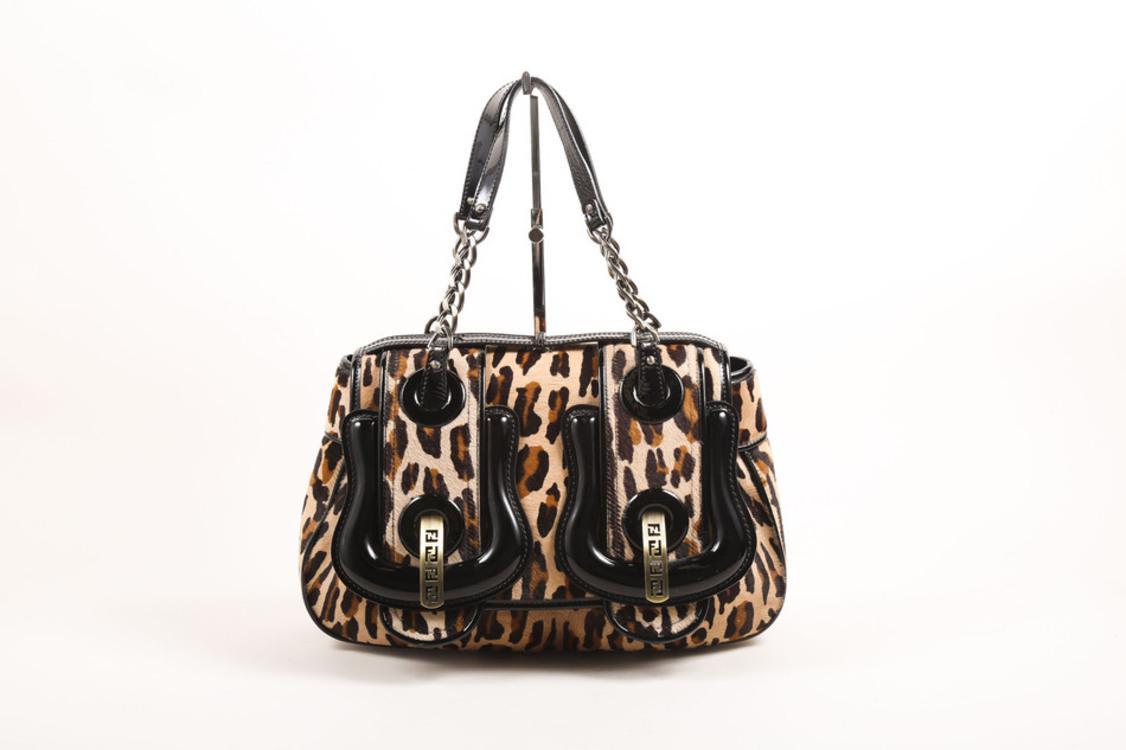dd70910ff4 Fendi Black Brown Patent Leather Leopard Pony Hair