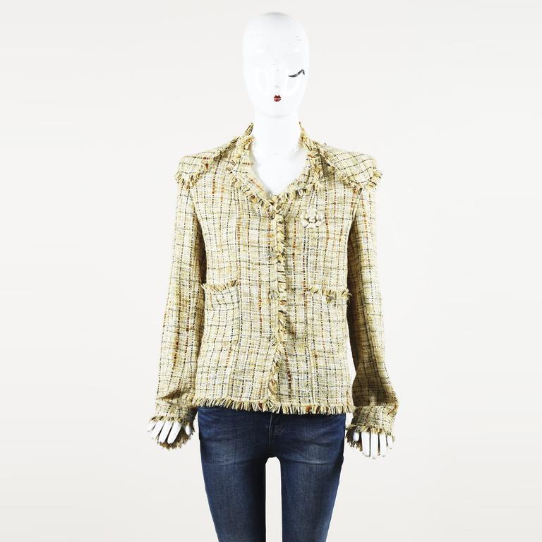 Chanel Vintage Boutique Tweed Fringe Camellia Jacket In