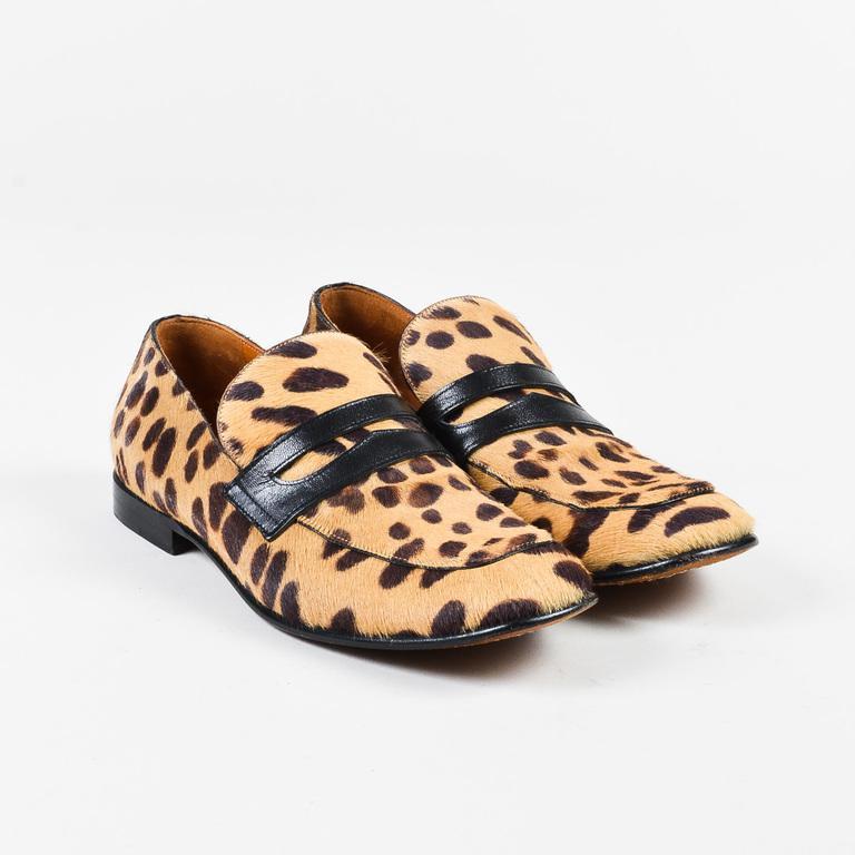 852e7371741 Lyst - Céline Tan Brown Pony Hair Black Leather Leopard Print ...