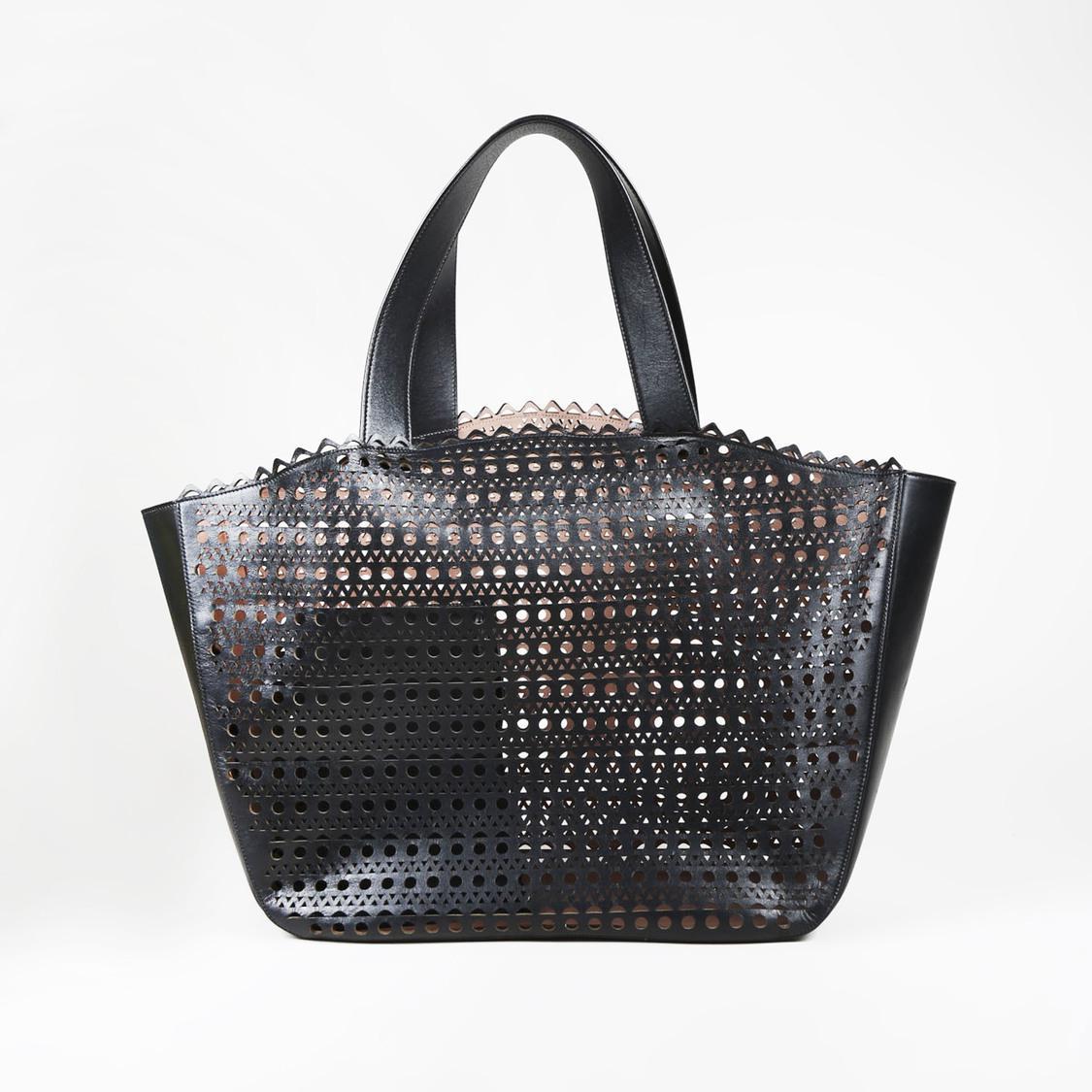 279f238cb Alaïa Black Laser Cut Leather Tote in Black - Lyst