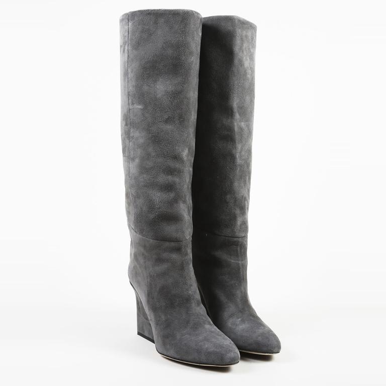 0330b2441f3 Jimmy Choo Gray Suede Wedge Heel Knee High Boots in Gray - Lyst