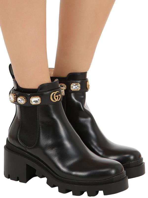 f72f88a90e750 Women's Black 40mm Embellished Leather Boots