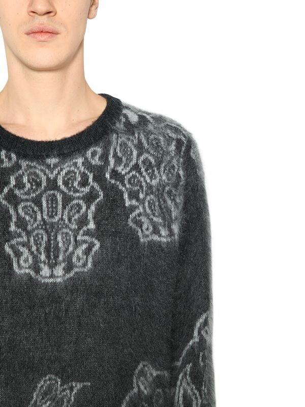 DSquared² Brushed Mohair & Wool Jacquard Sweater in Grey (Grey) for Men