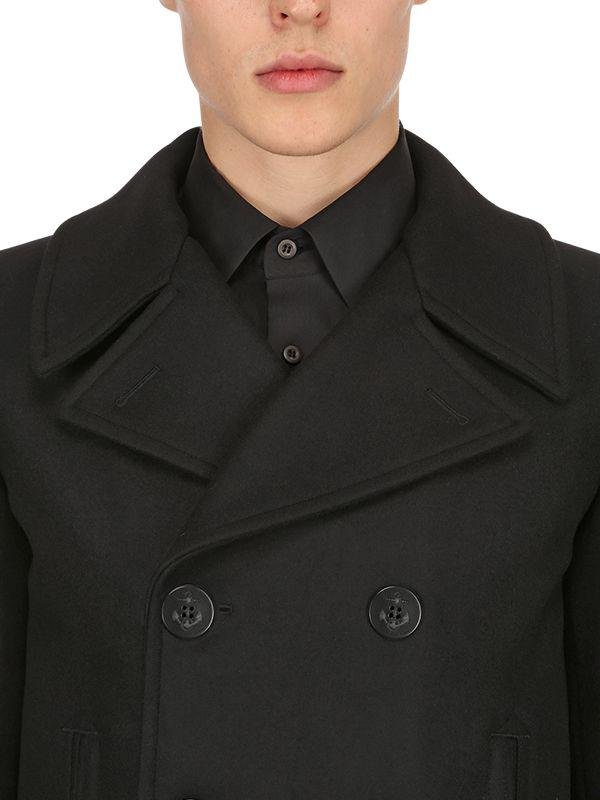 e12a41b93eeaa Lyst - Saint Laurent Double Breasted Wool Cloth Peacoat in Black for Men