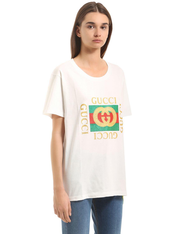 34c5ed72d397 Lyst - Gucci Glitter Logo Print Cotton Jersey T-shirt in White