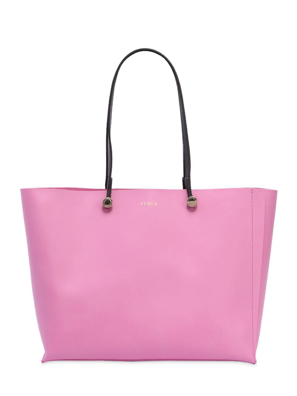 Furla Pink Eden Leather Tote Bag Lyst View Fullscreen
