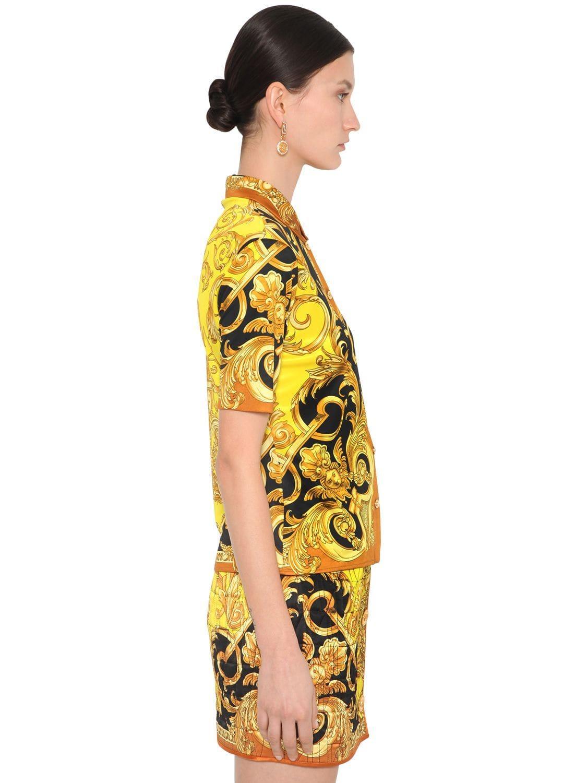 Chemise En Jersey Stretch Imprimé Versace en coloris Jaune