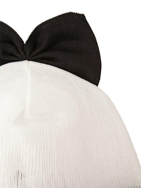 Federica Moretti - White Cotton Blend Beanie Hat With Bow - Lyst. View  fullscreen 4d109b57a12b