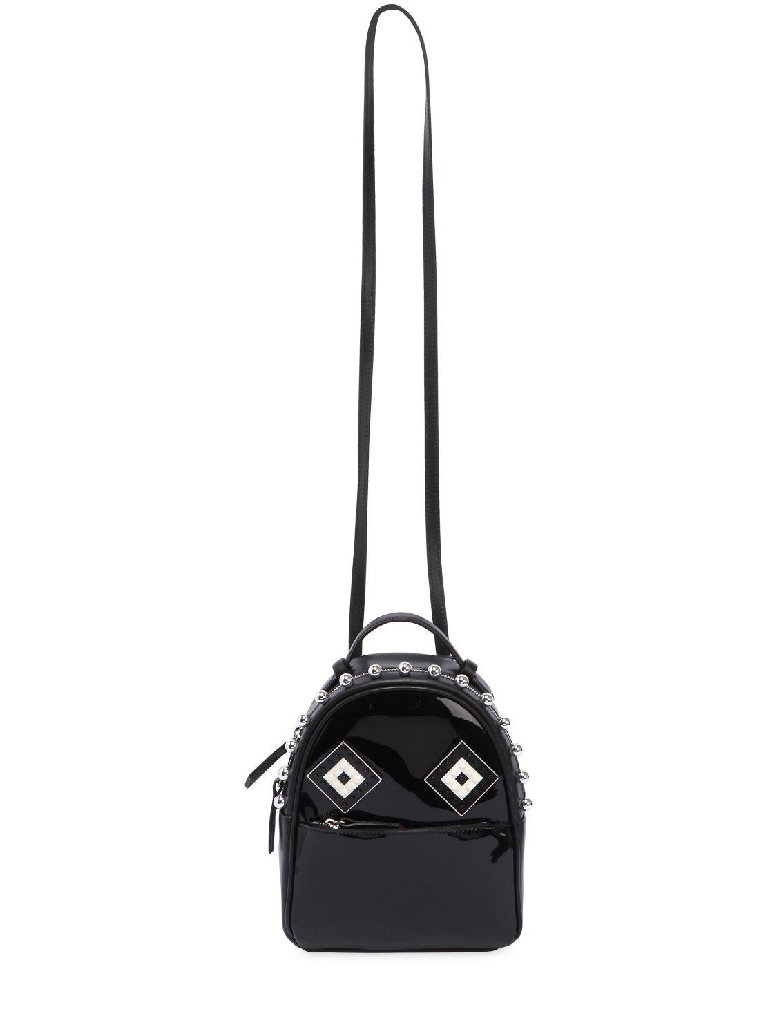 Les Petits Joueurs Baby Mick Mask Patent Leather Backpack in Black