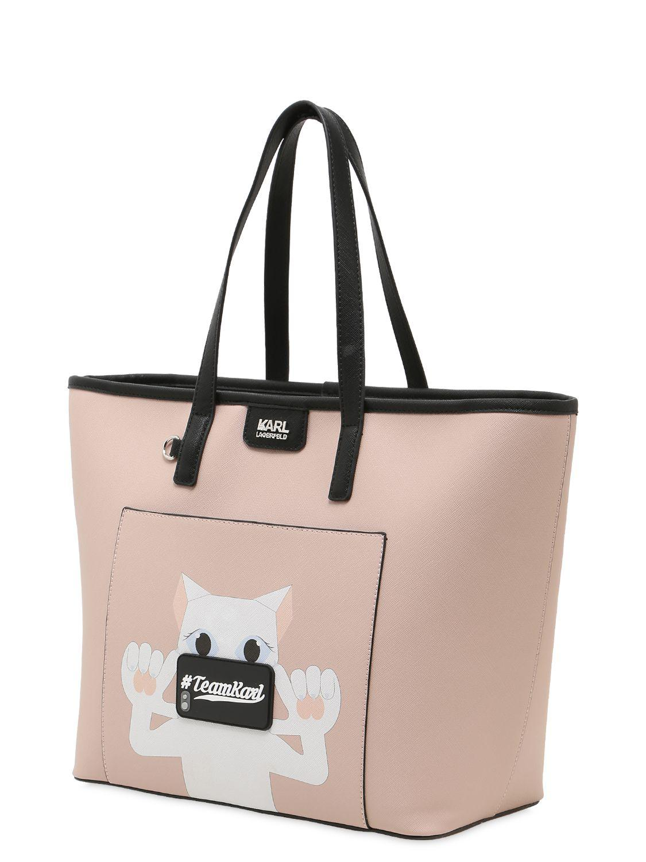 "Karl Lagerfeld Borsa Shopping ""team Karl"" In Pvc in Pink"