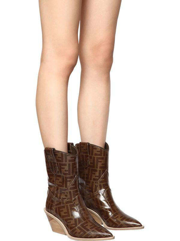 c33b3633089 Fendi Brown 60mm Ff Print Cowboy Ankle Boots