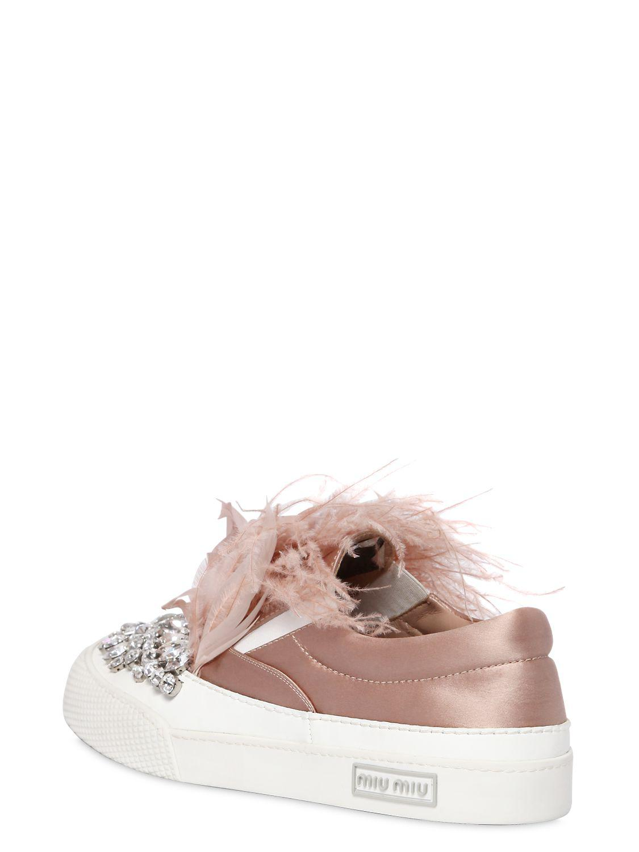 Miu Miu 30mm Crystals & Feathers Satin Sneakers