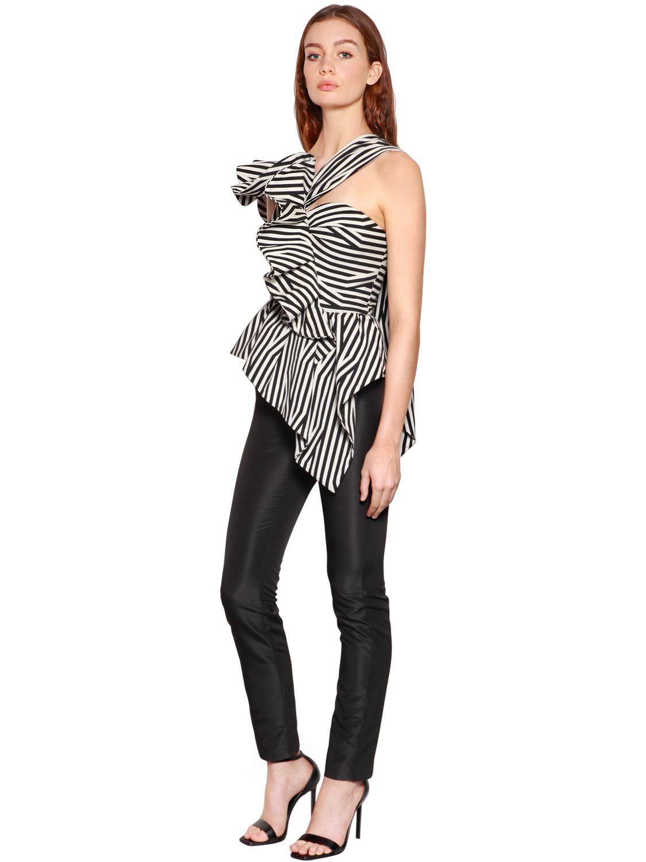 f21e08ba203c Lyst - Self-Portrait Asymmetrical Ruffle Striped Jumpsuit in Black
