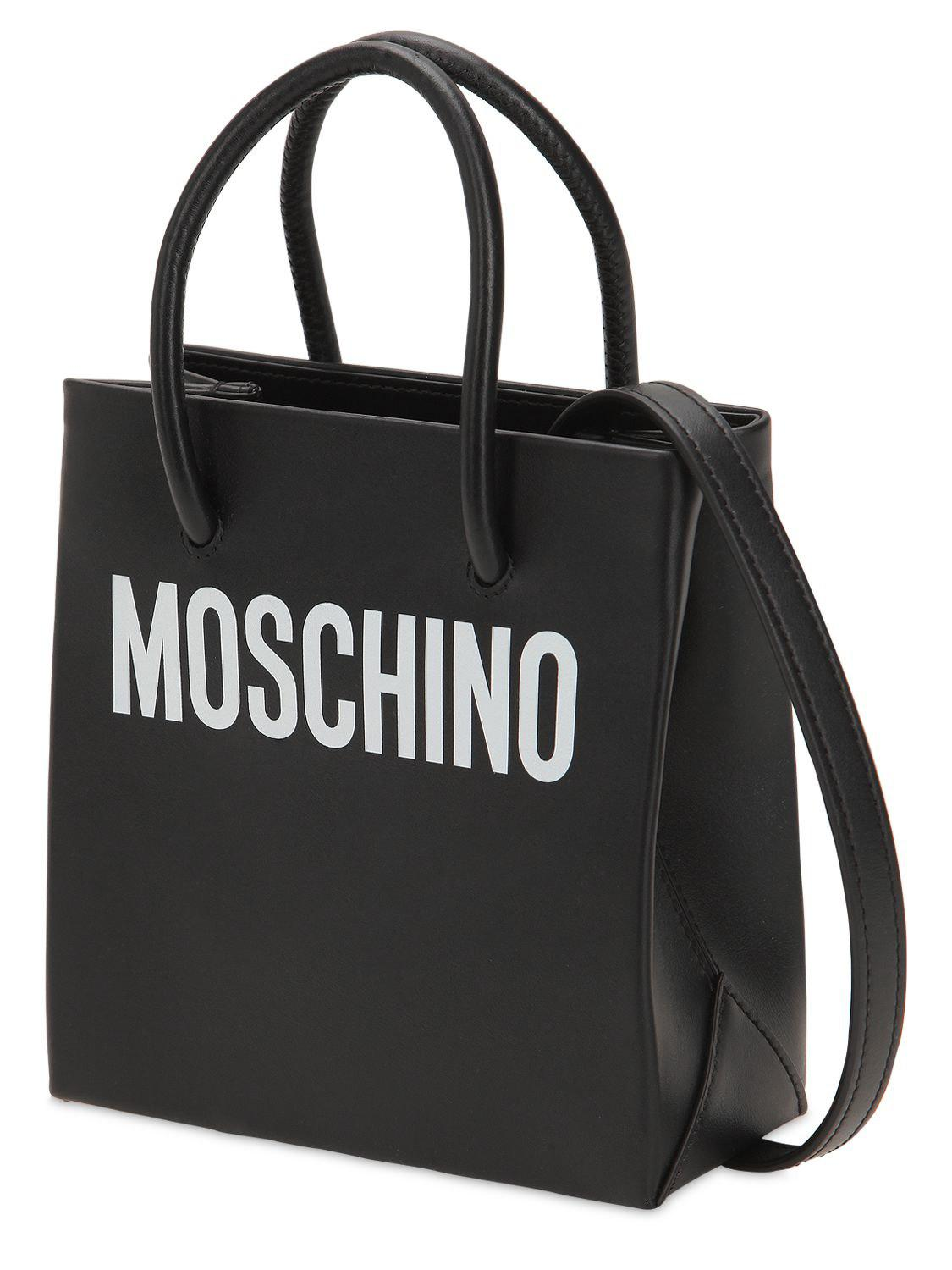 aa2faa121c Moschino Small Logo Printed Leather Shoulder Bag in Black - Lyst