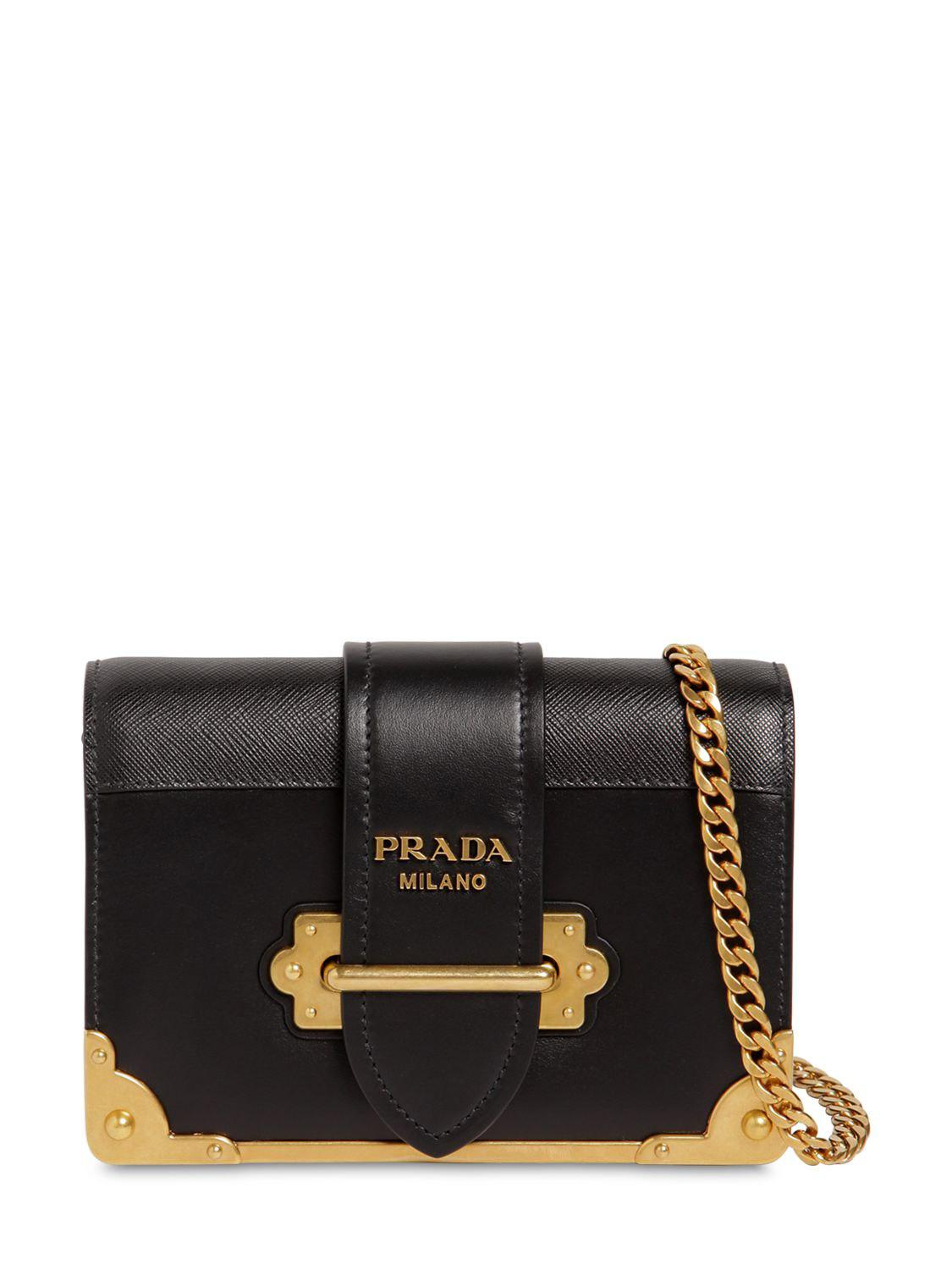 409339d926861e Lyst - Prada Small Cahier Leather Shoulder Bag in Black