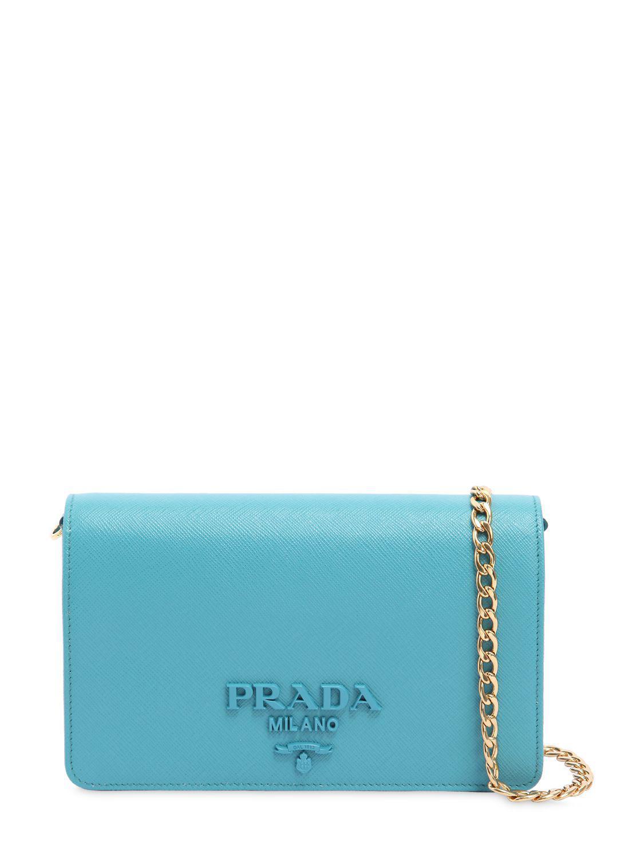 90a4570e2a6e Prada Saffiano Leather Shoulder Bag in Blue - Lyst
