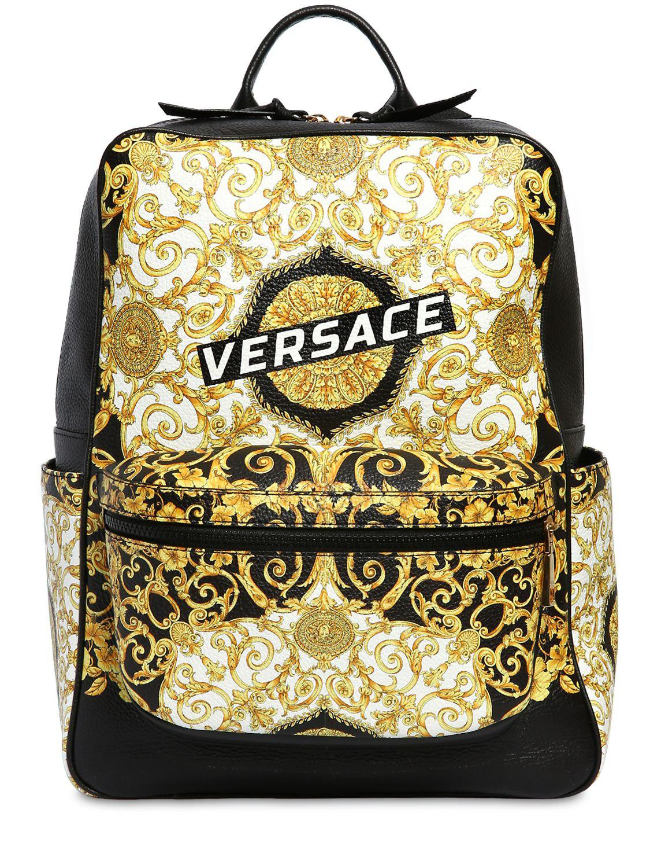 Versace - Black Logo Baroque Print Leather Backpack for Men - Lyst. View  fullscreen 13f8b93589