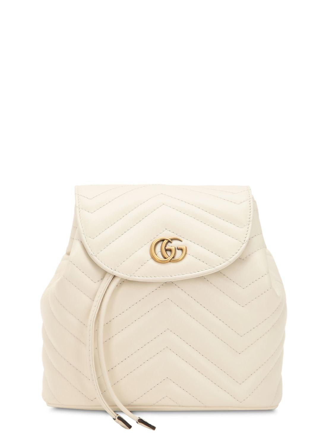 21129100011d Gucci Mini Gg Marmont Leather Backpack in White - Lyst