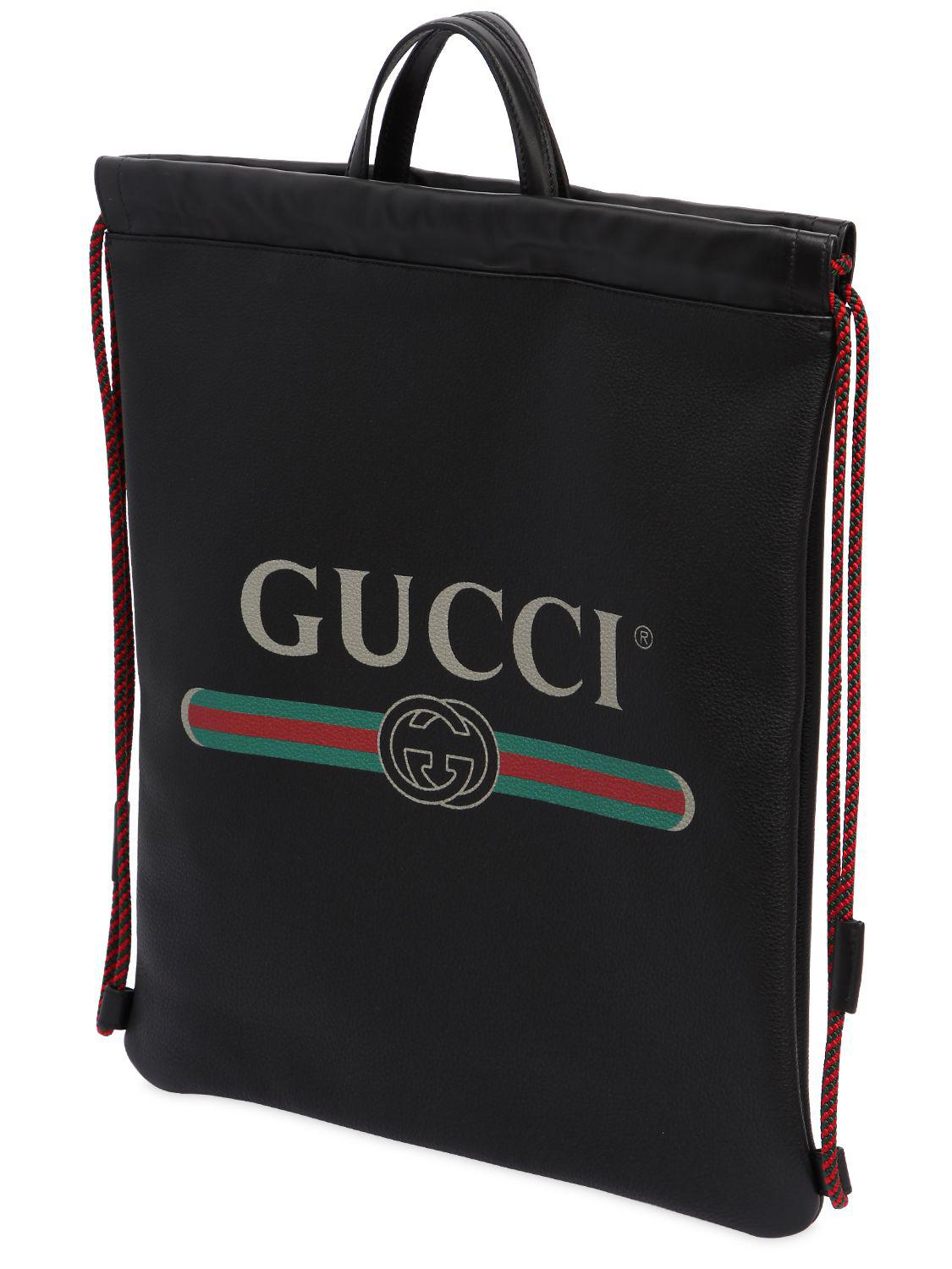Lyst - Gucci Vintage Logo Printed Drawstring Backpack in Black for ... 11b3aa7107fa4