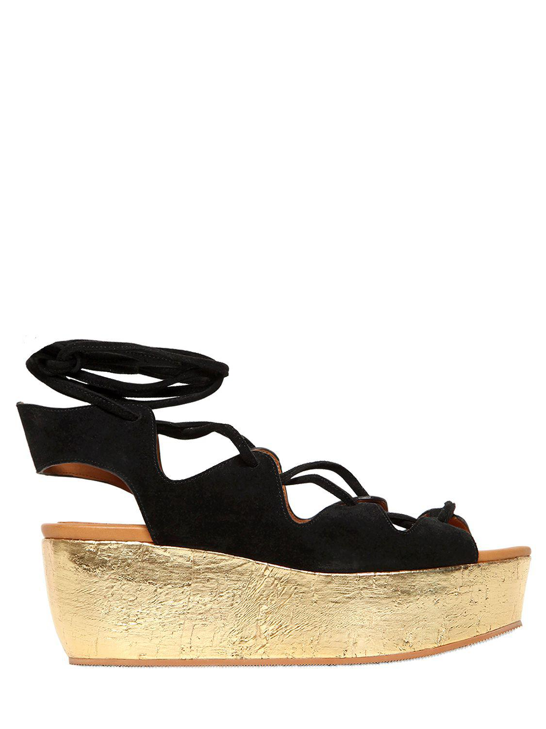 7555a19440f6 See By Chloé - Black 70mm Suede Lace-up Wedges - Lyst. View fullscreen