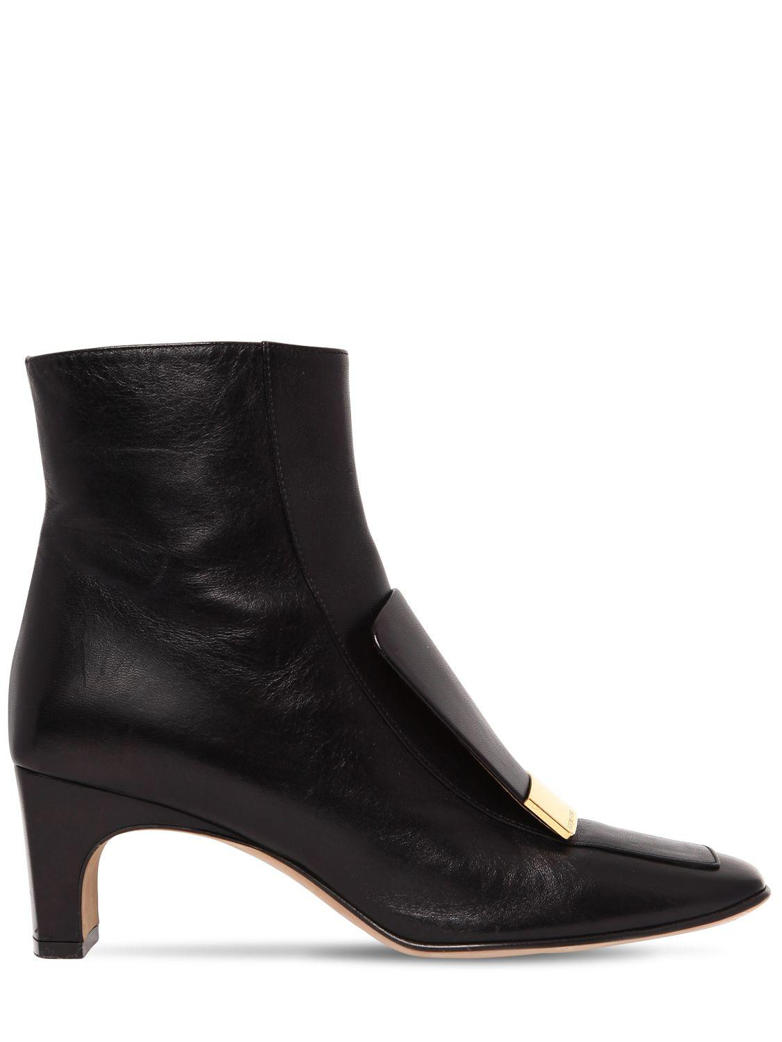 Sergio Rossi 60MM METAL PLAQUE LEATHER ANKLE BOOTS KFUNY