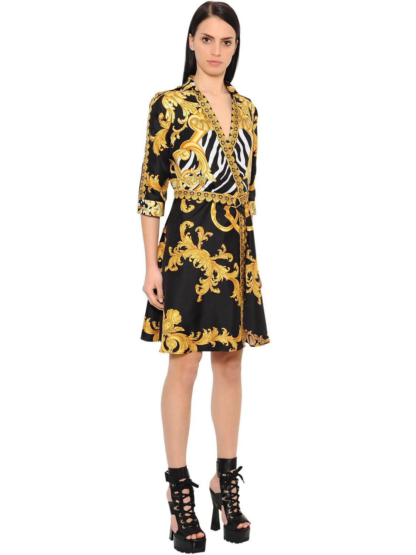 Versace Printed Twill Signature Kimono Dress In Black Gold