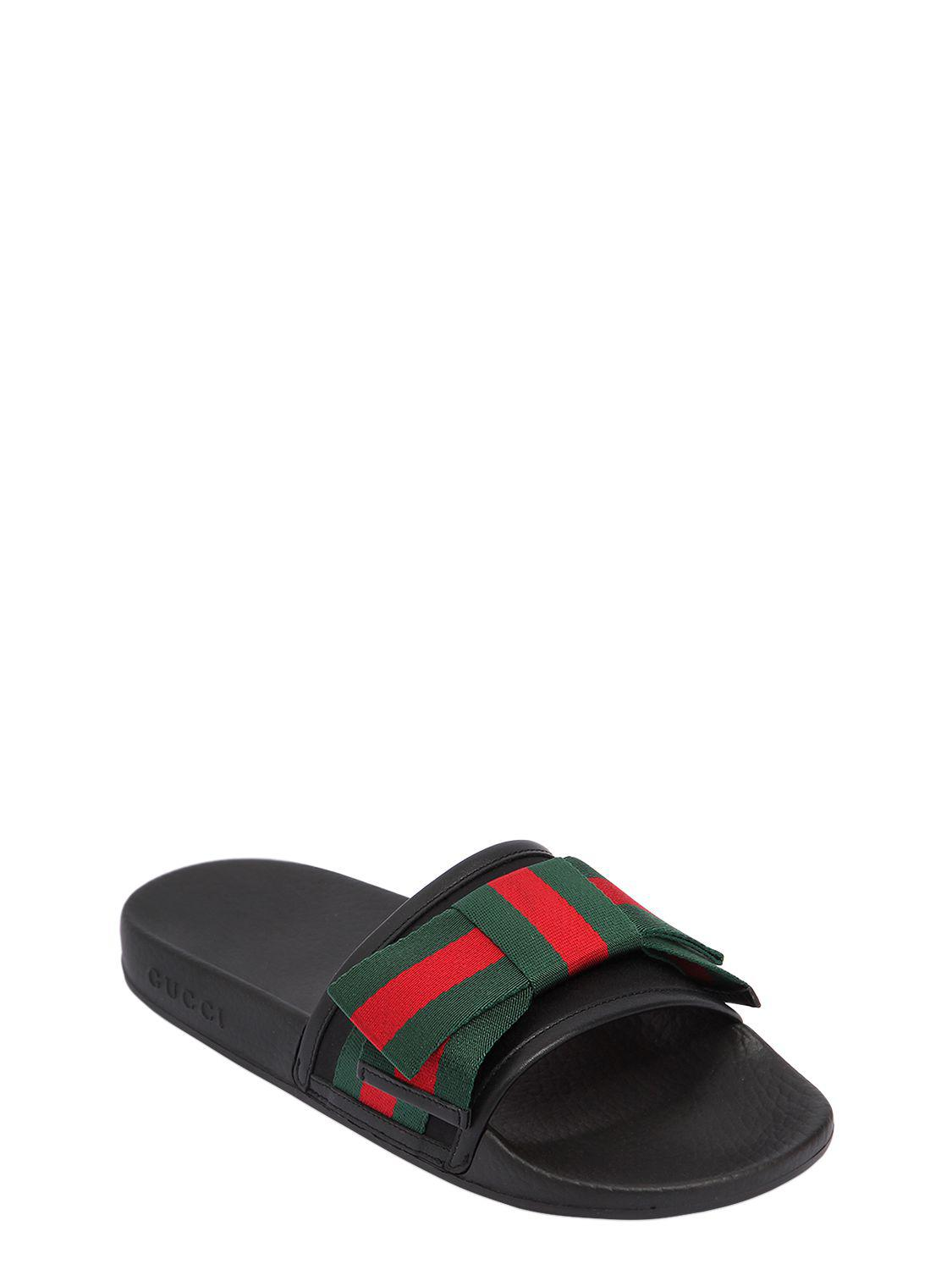 e724cdd6fee Gucci 10mm Pursuit Web Bow Satin Slide Flats in Black for Men - Lyst