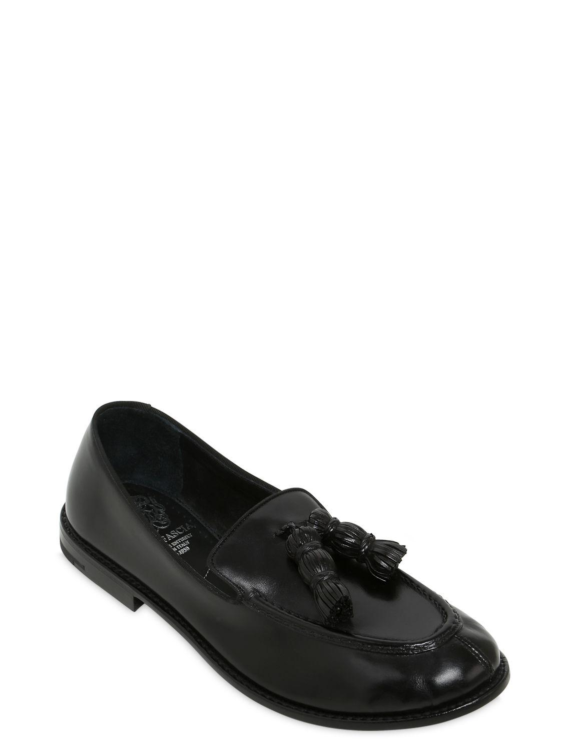Alberto Fasciani Tasseled Hand-brushed Leather Loafers in Black for Men