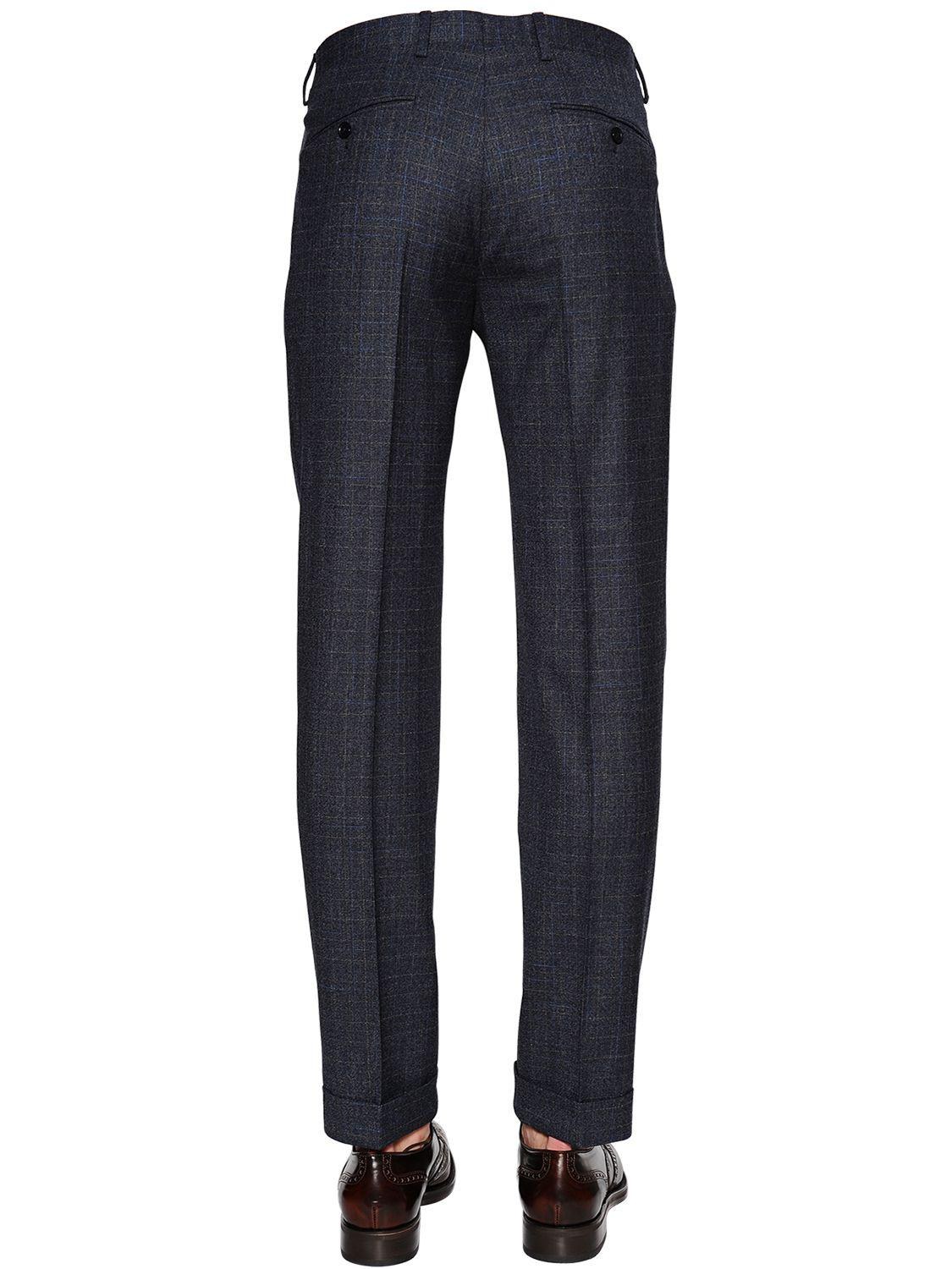 Lardini Checked Stretch Wool Suit in Blue for Men
