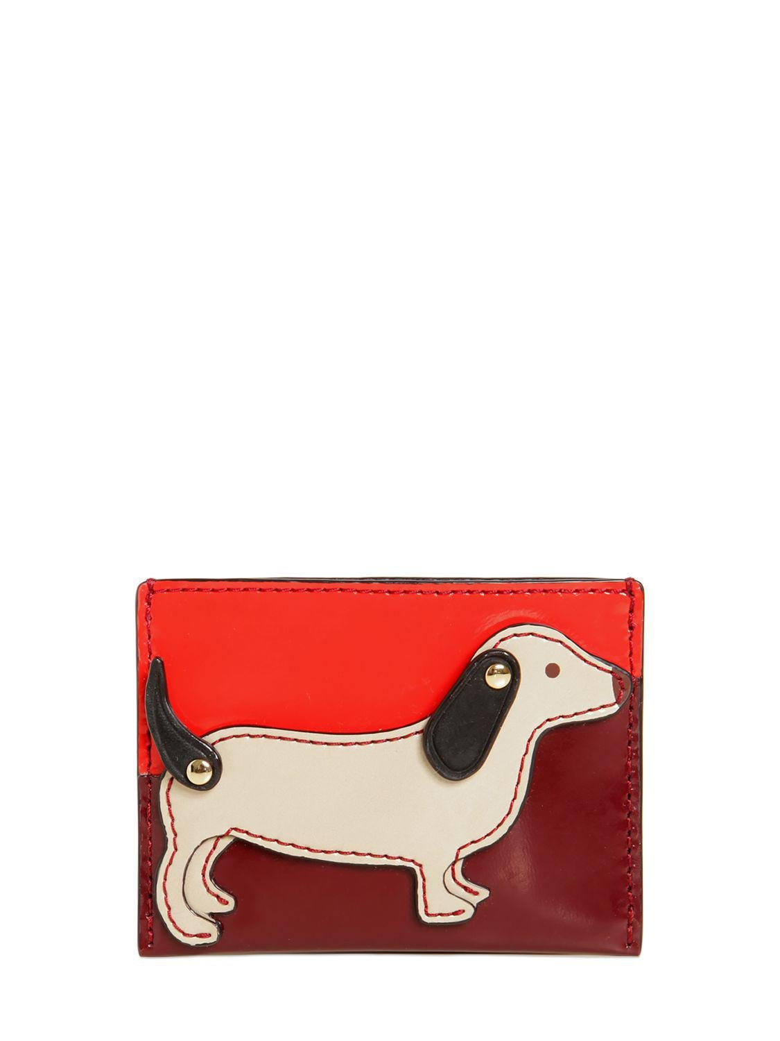 Lyst - Tory burch Dog Slim Leather Card Holder in Red