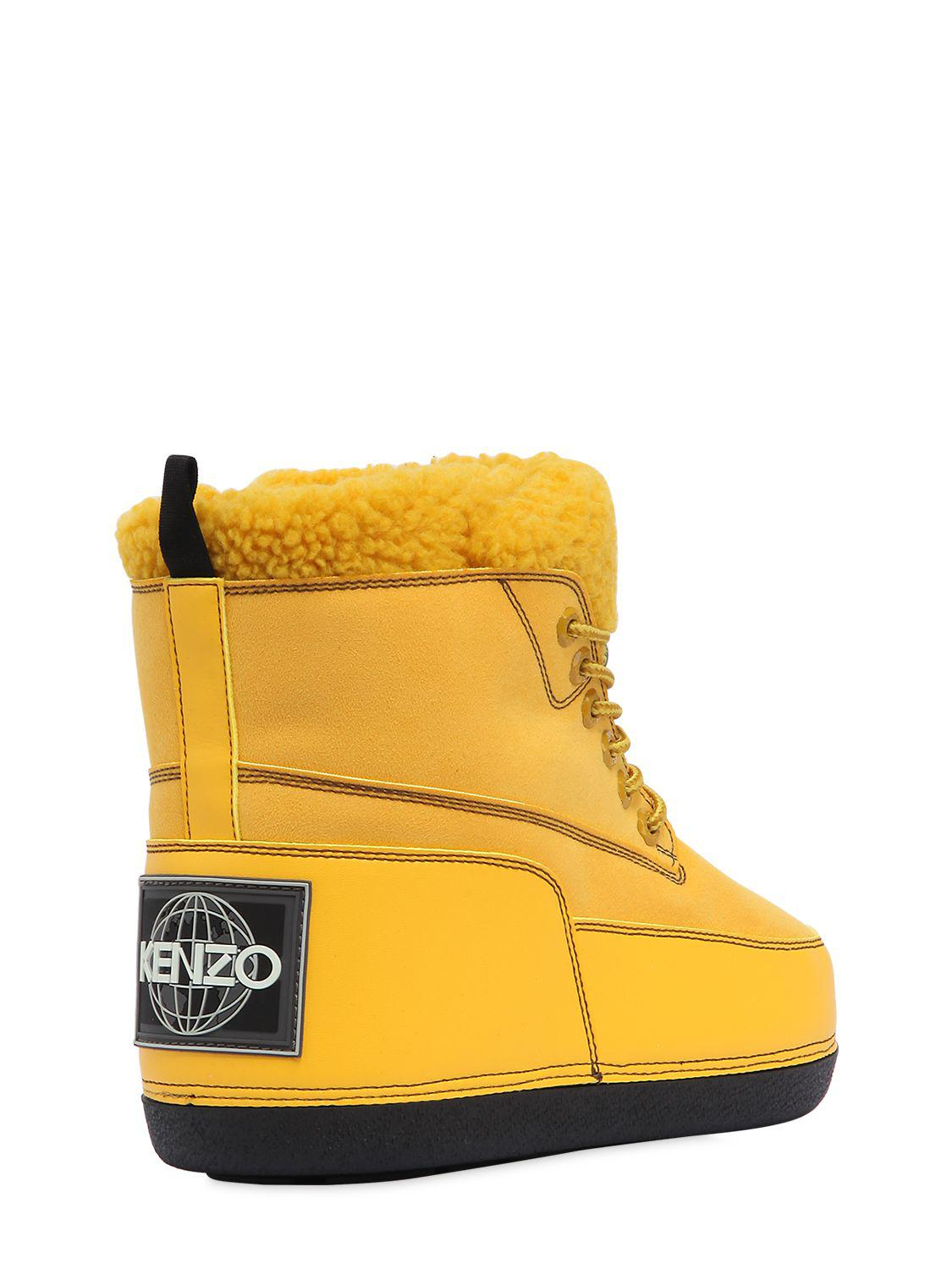 KENZO Leather Logo Snow Boots in Yellow