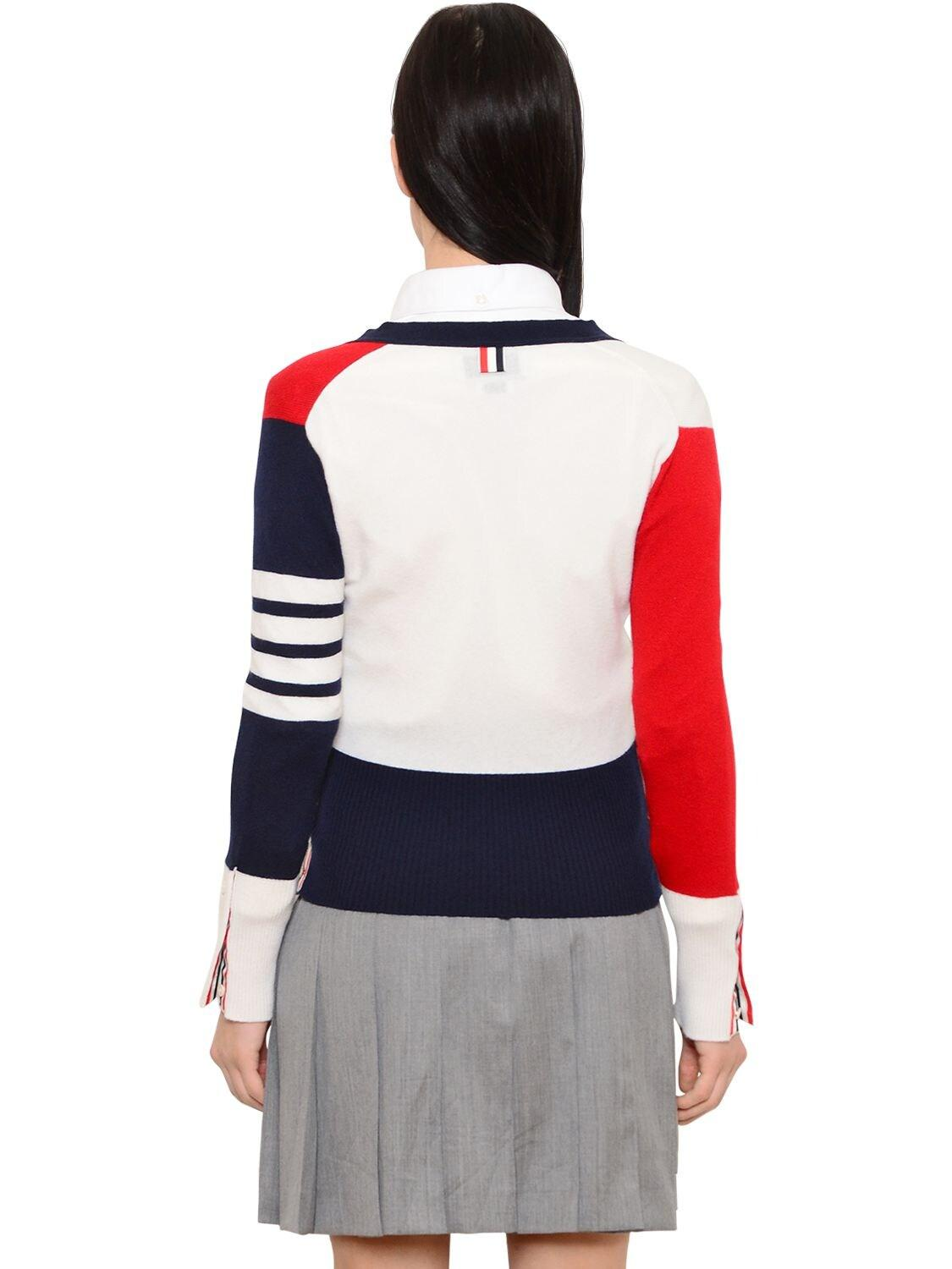 Thom Browne Color Blocked Cashmere Knit Cardigan in Red