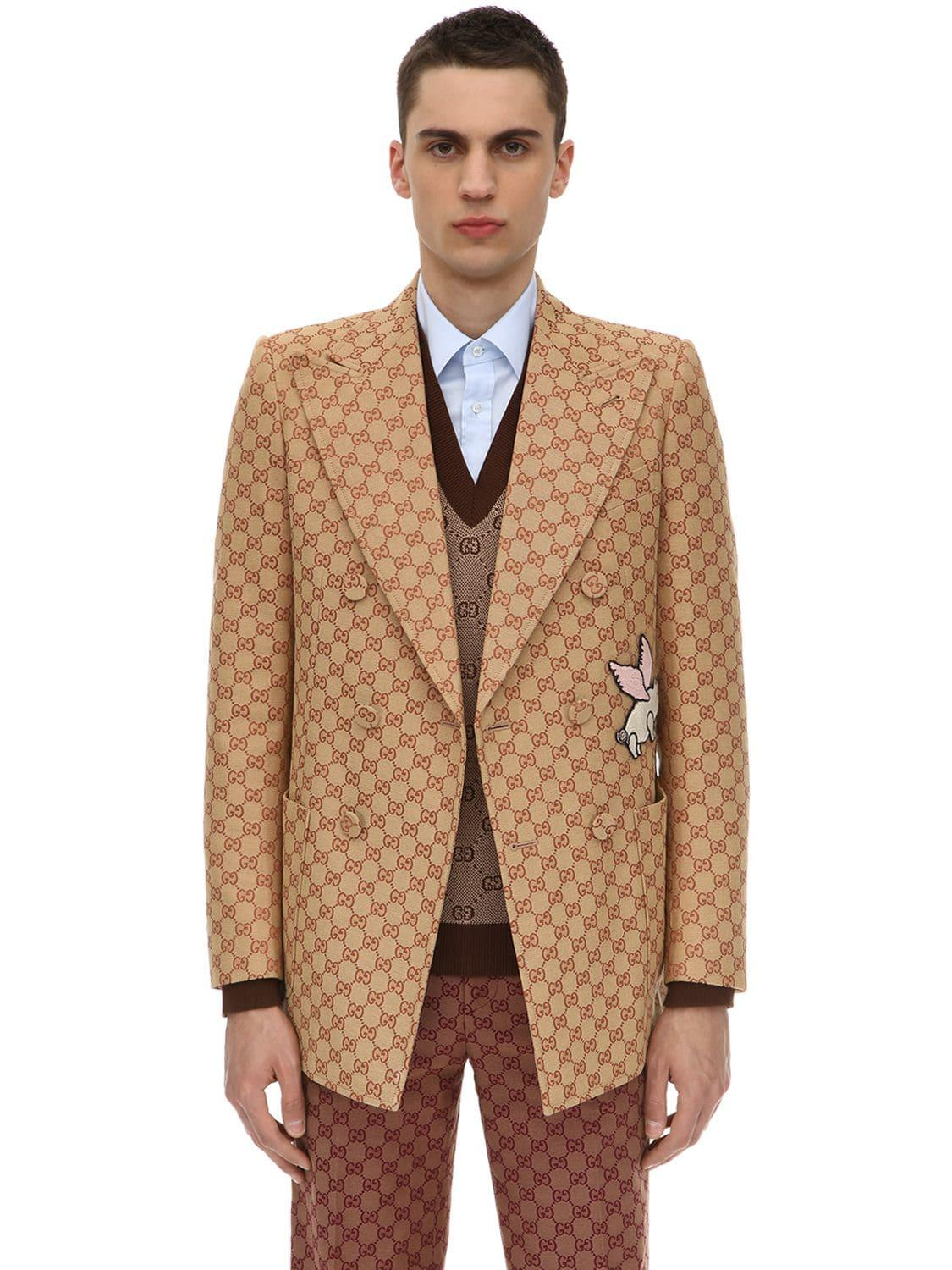 c6e2a1f3d Lyst - Gucci Gg Cotton Blend Jacket in Natural for Men