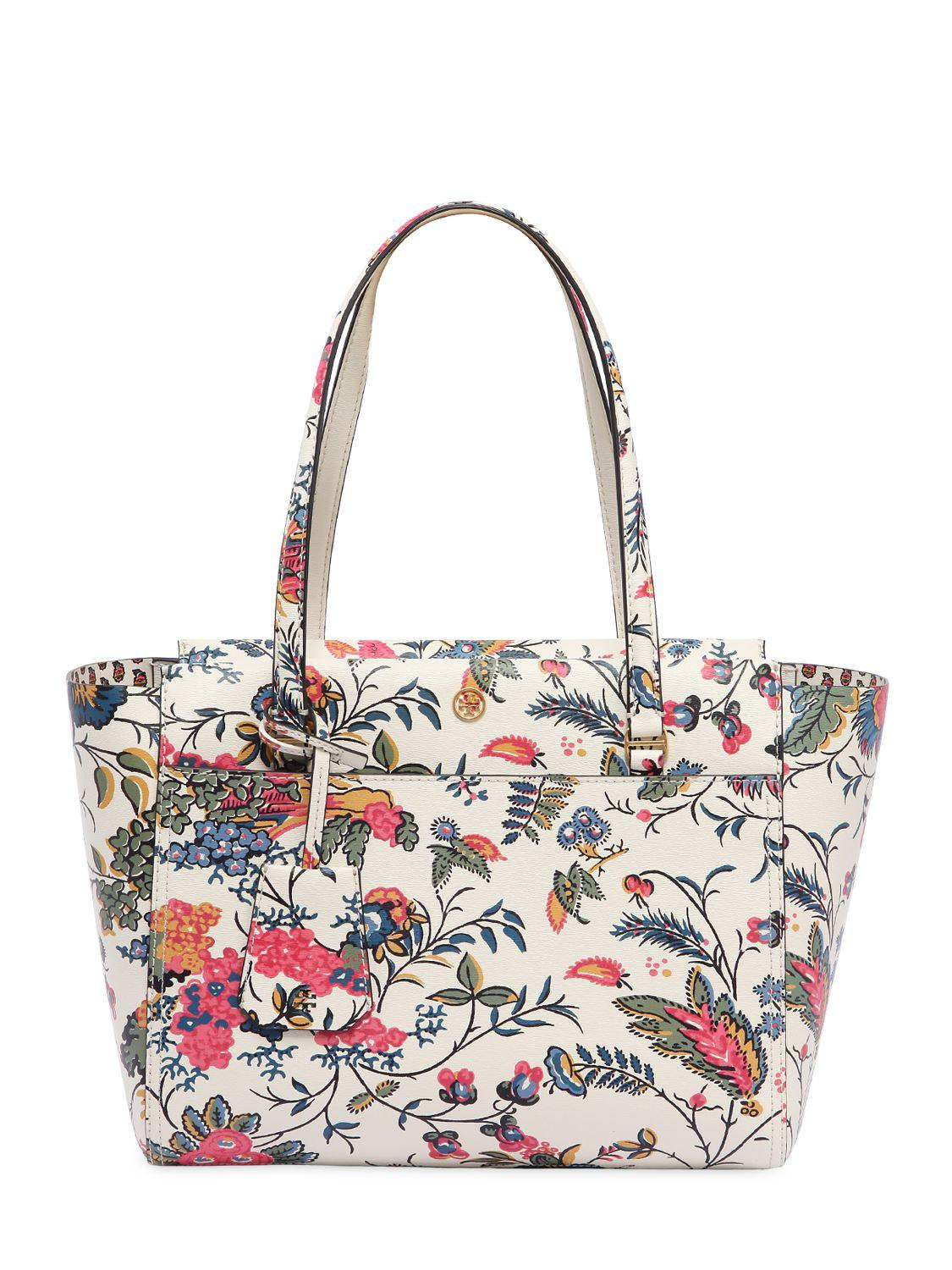 af2d3ed5c12 Tory Burch Small Parker Floral Printed Leather Tote - Lyst