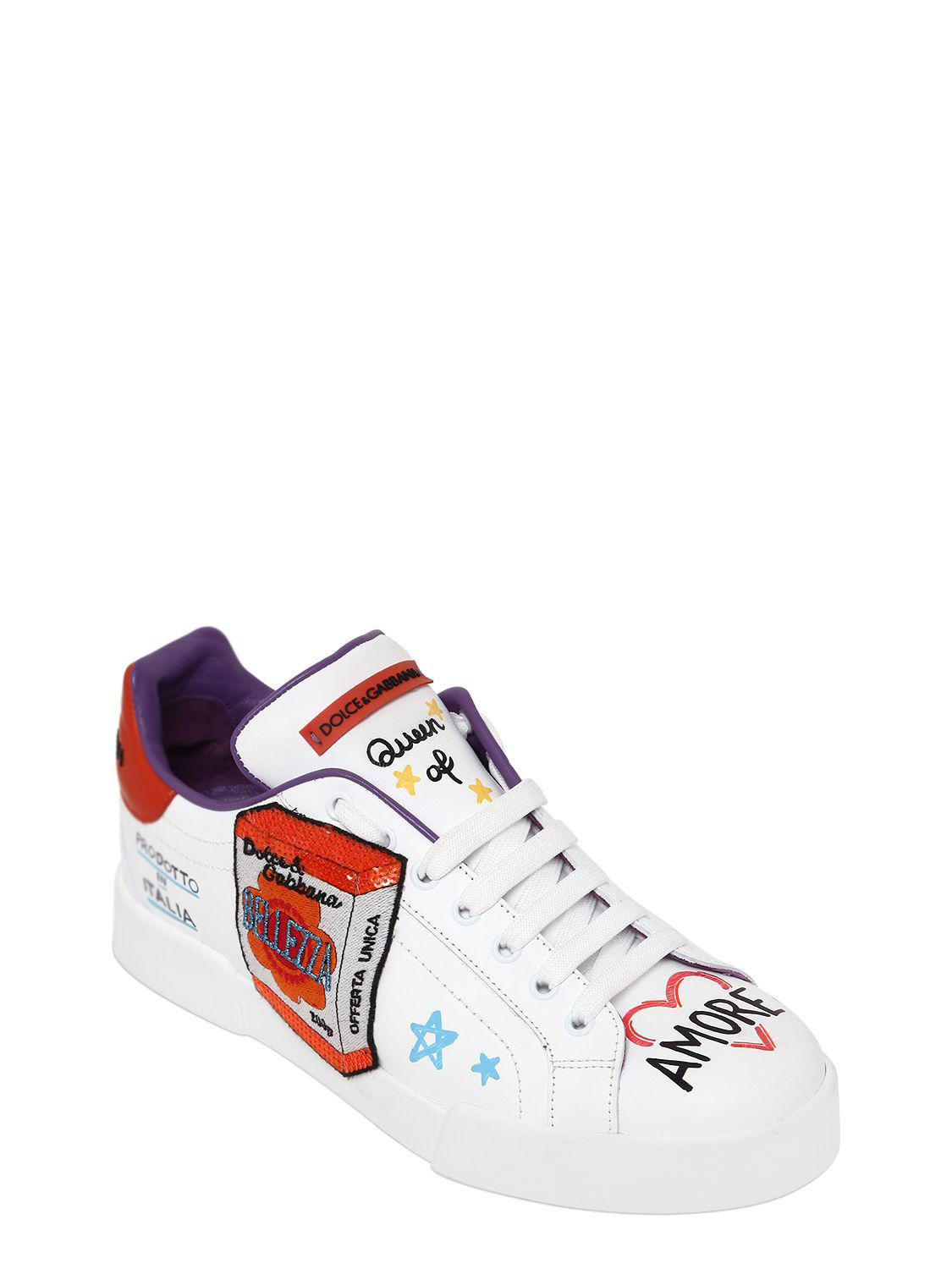 Dolce & Gabbana 20MM GRAFFITI & PATCHES LEATHER SNEAKERS 9TnZlidW