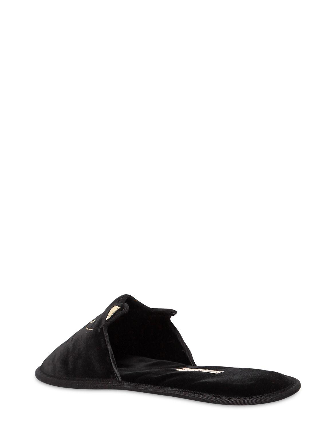 Charlotte Olympia KITTY HOUSE CATS VELVET SLIPPERS nDihE