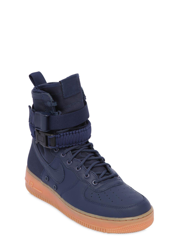 Nike Blue Sf Air Force 1 High Top Sneakers for men