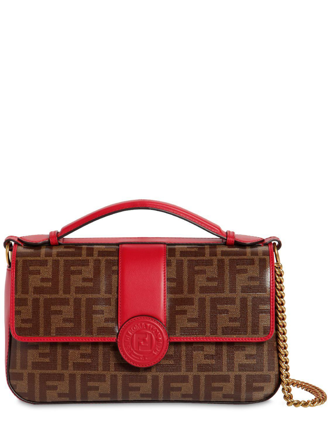 5143e7e28a37 Lyst - Fendi Double Ff Baguette Leather Shoulder Bag in Red - Save 16%