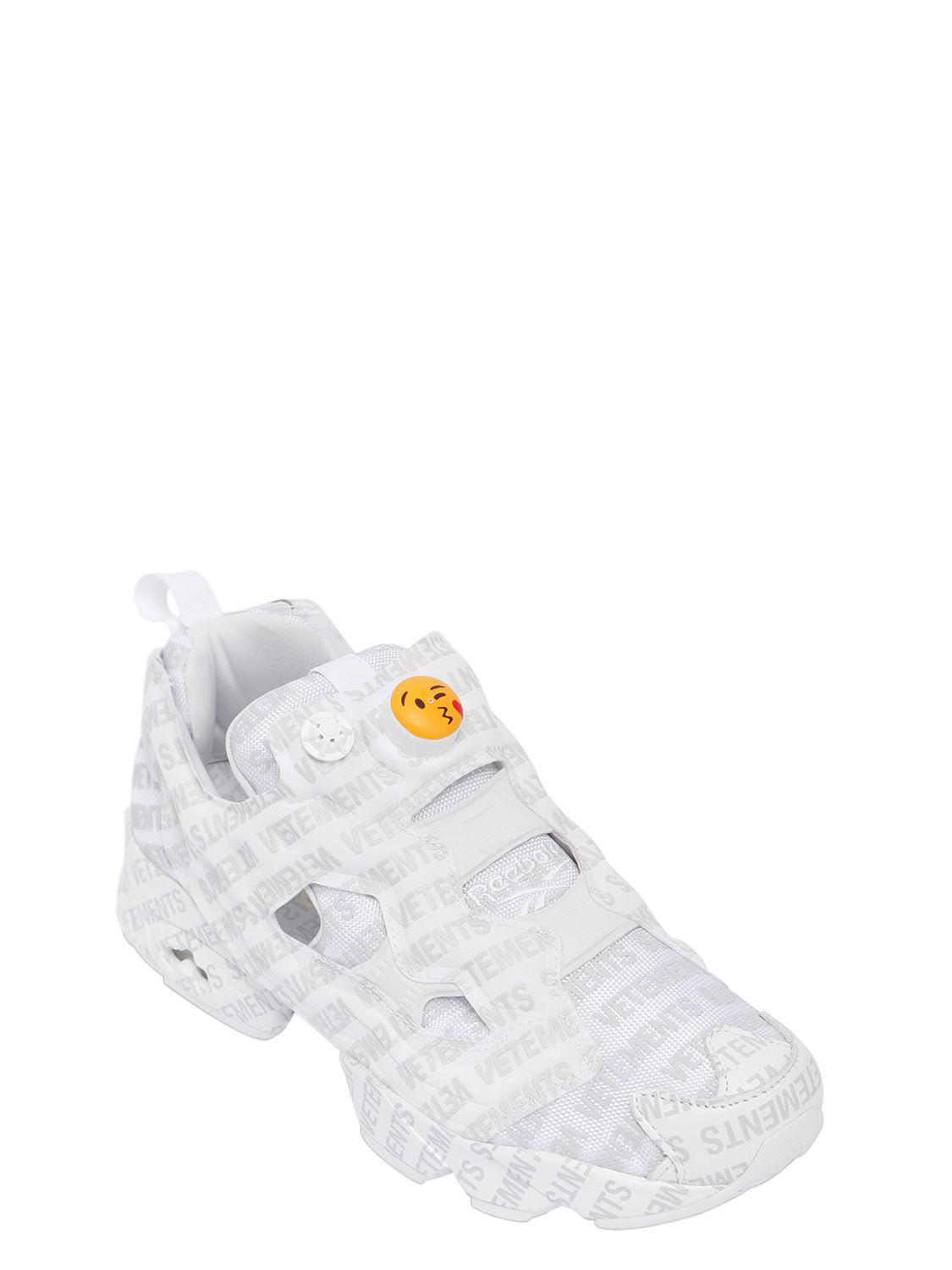 8e62fd8cacff Lyst - Vetements Reebok Logo Instapump Fury Sneakers in White for Men -  Save 19%