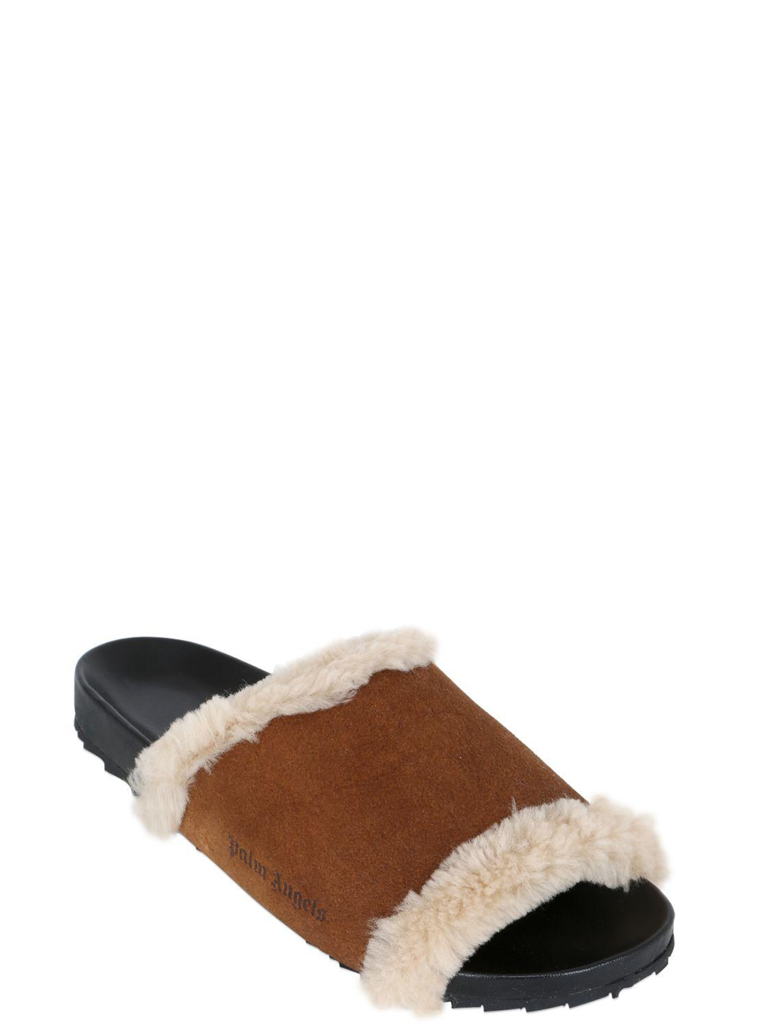 Palm Angels SHEARLING SLIDE SANDALS aNm7t