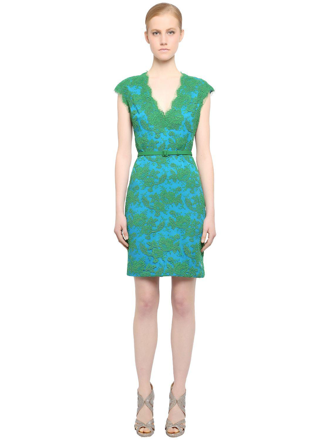 Lyst - Reem Acra Embellished Cotton & Viscose Lace Dress in Green