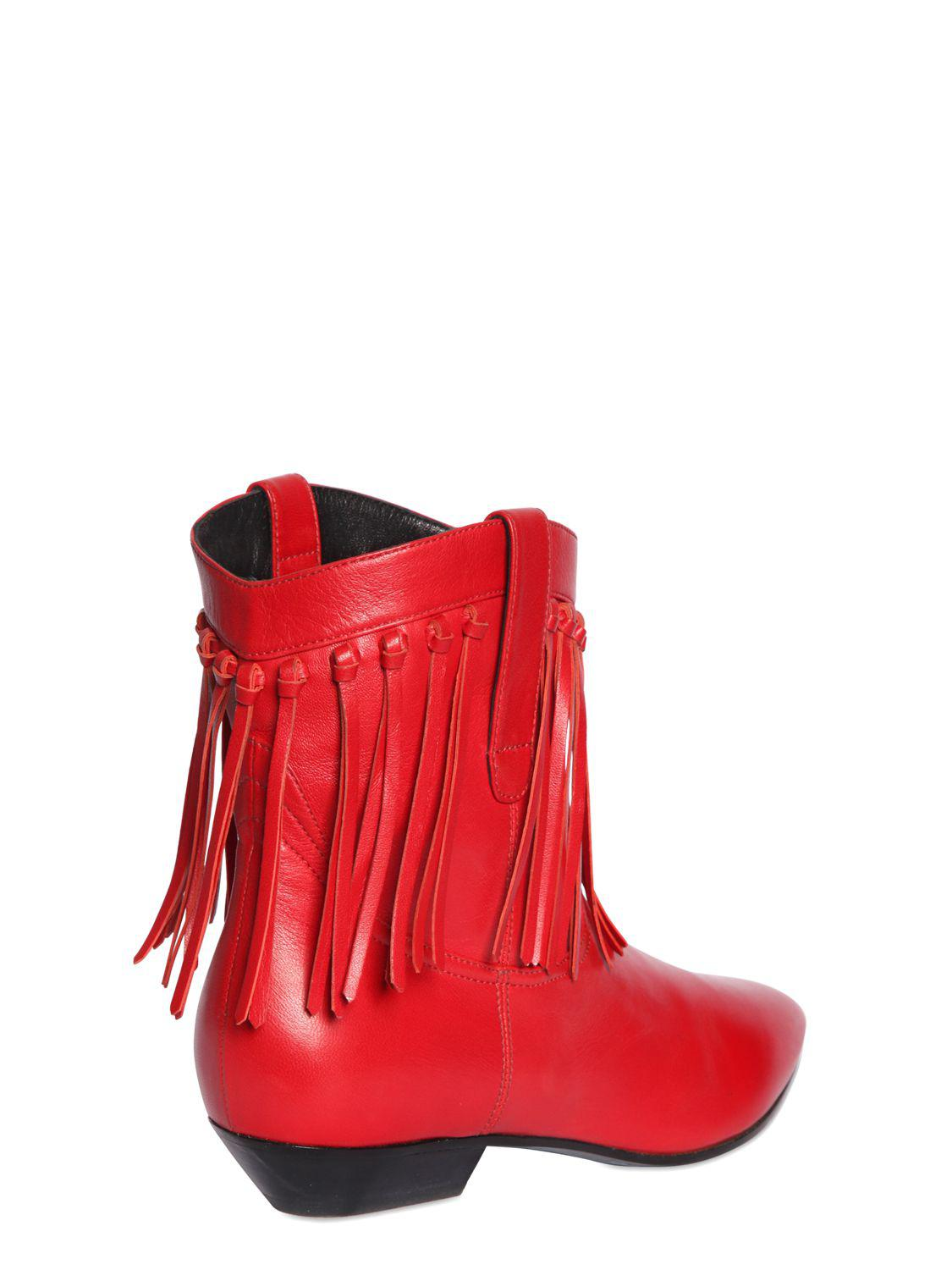 Saint Laurent 25mm Titi Fringed Leather Boots In Red Lyst