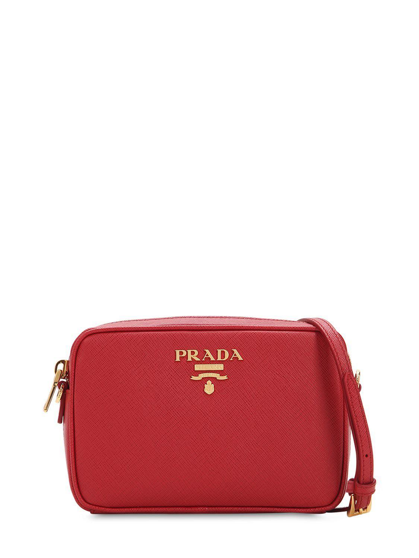 Prada - Red Saffiano Lux Leather Camera Bag - Lyst. View fullscreen 10a76081fd631