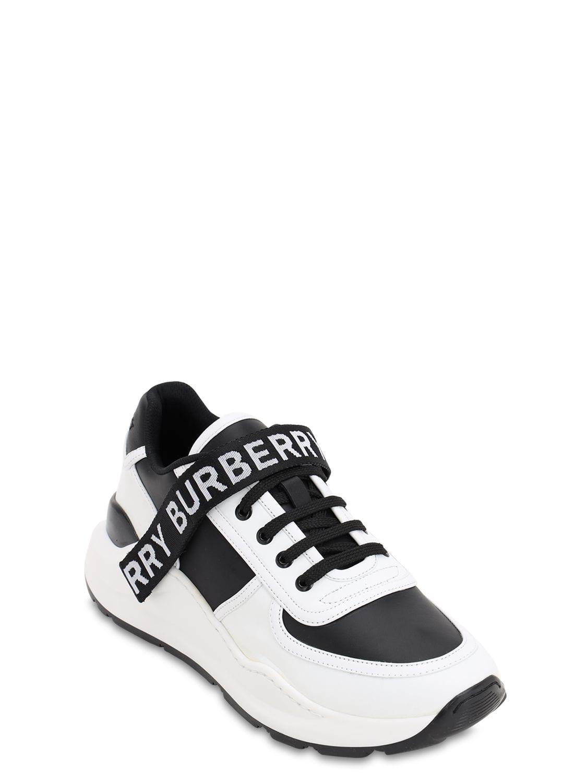 """Sneakers """"Ronnie"""" De Piel Con Logo Burberry de Cuero de color Negro para hombre"""