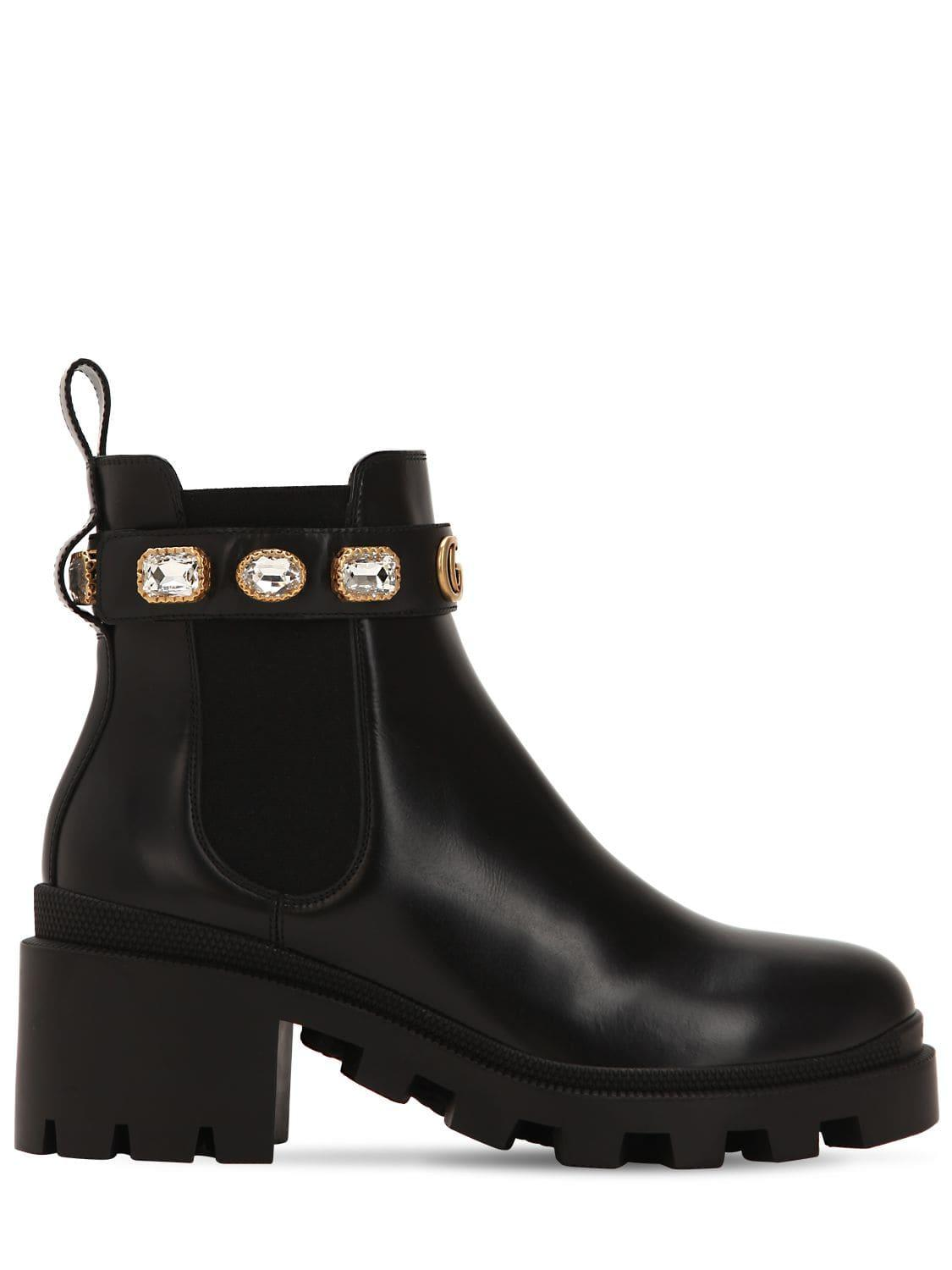 6f3371926 Gucci Black Leather Ankle Boot With Belt. View fullscreen