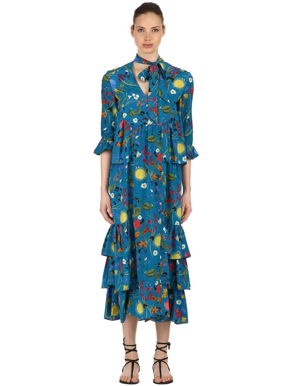 ccf42ac84493 Vestido De Crepé De Seda Estampado Surreal Garden de mujer de color azul